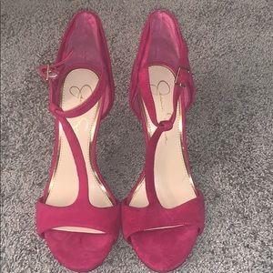 Fuchsia Jessica Simpson rose petal like heels
